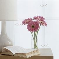 テーブルに置かれた本と花瓶とランプ