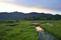 群馬県 中田代の夕焼けと池塘