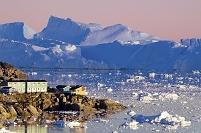 デンマーク 白夜のイルリサット|氷河 夕焼け