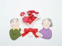 老夫婦と花束