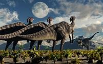 ハドロサウルス科恐竜とティラノサウルス