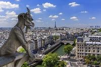 パリ 市街 セーヌ河 奥:エッフェル塔 俯瞰(ノートルダム大...