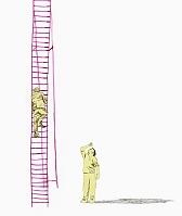 梯子を登る男性