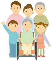 車椅子に乗る祖母と日本人の三世代家族