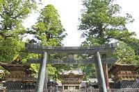 栃木県 日光東照宮の鼓楼と鐘楼と陽明門