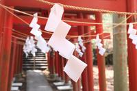 神社のしめ縄に吊るされた紙垂