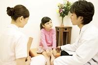 待合室で看護師と医者に病状を聞かれる子供1