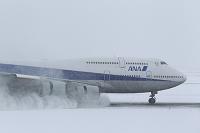 ボーイング747 雪中の着陸 ANA