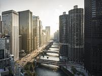 アメリカ シカゴ ワッカー通りとシカゴ川