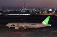 日本航空ボーイング777 夜景 JAL エコジェット 東京都 羽田...