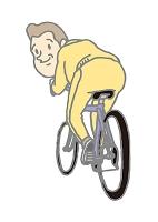 自転車に乗る中高年男性