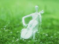 人形 チェロ奏者 (粘土クラフト クレイアート)