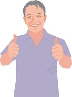 親指を立てるアクティブシニアの日本人男性