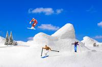 フィギュア 高原でのスキーヤーたち