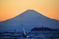 富士山 江の島 ウインドサーフィン