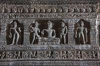 インド アジャンター石窟群 第26窟 内部の浮き彫り