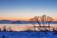 滋賀県 雪の琵琶湖 竹生島夕景