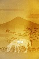 金屏風の富士山と馬