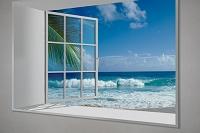 白い出窓にハワイの波