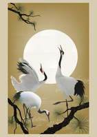 3羽の鶴と太陽
