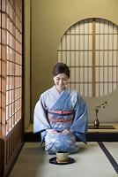 畳に正座をする着物の日本人女性