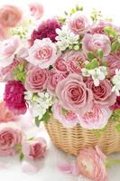 ピンクのバラとカーネーション