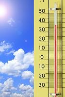 高温を表示する温度計と青空