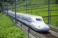 静岡県 東海道新幹線と茶畑 掛川駅~静岡駅 N700系