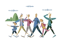 ハイキングをする三世代家族