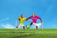 サッカーをする猿