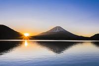 山梨県 精進湖から朝の富士山