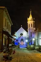 北海道 夜の元町カトリック教会