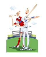 野球をするカップル