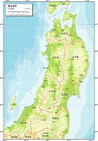 東北地方 地勢図