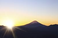 山梨県 櫛形山林道 富士山と朝日