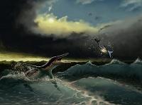 CG サメを襲う恐竜