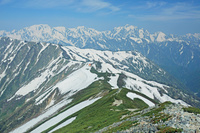 長野県 爺ケ岳から立山左奥と剣岳右奥の山