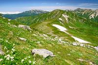 岐阜県 双六岳から薬師岳中央左奥と水晶岳右奥の山