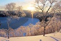 北海道 凍る摩周湖の霧氷とサンピラーとダイヤモンドダストの朝