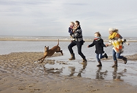 走る外国人家族と犬