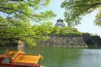 大阪府 大阪城 内濠の御座船と天守閣