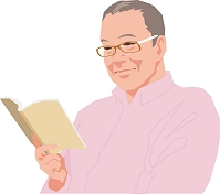本を読むアクティブシニアの日本人男性