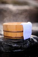 福島県 風呂桶とタオルと湯気