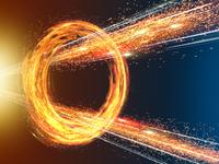 旋回する炎の輪を突き抜ける放射炎と光線