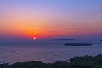 山口県 笠山より夕日
