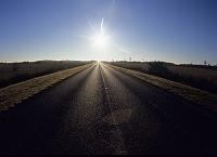 アメリカ合衆国 フロリダ 朝日と道路