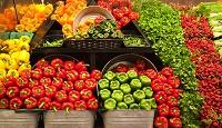 陳列されたカラフルな野菜