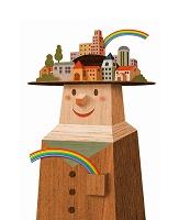 イラスト 「帽子の街」