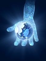 デジタル回路柄の手に乗る地球儀
