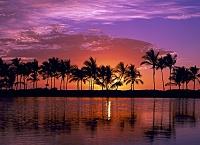 ハワイ島 クウアリ・フィッシュポンドの夕焼け